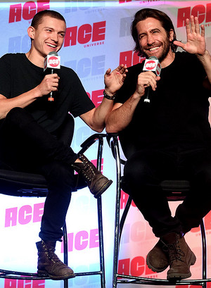 Tom Holland and Jake Gyllenhaal at ACE Comic Con Midwest on October 12, 2019