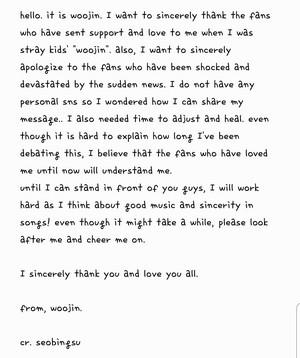 Woojin's Letter translation