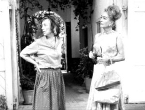 Agnes Moorehead and Joan Crawford