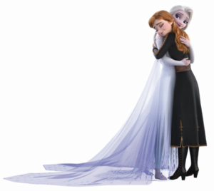 Anna and Elsa hug
