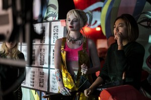 Birds of Prey (2020) Behind the Scenes Still - Margot Robbie as Harley Quinn and Director Cathy Yan