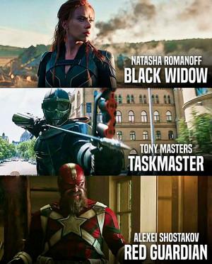 Black Widow/Natahsa Romanoff - Tony Masters/Taskmaster - Alexei Shostakov/Red Guardian