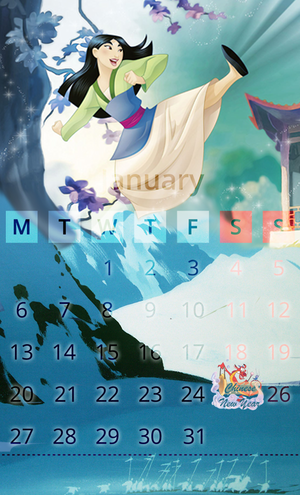 Calendar January mulan