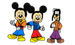 Disney's Morty and Ferdie Fieldmouse with Gilbert Goof