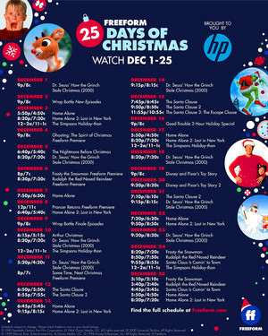 Freeform's 25 Days of Christmas - 2019 Schedule