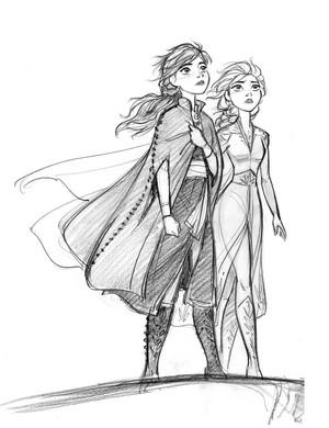 Frozen 2 Concept Art - Anna and Elsa