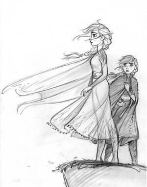 Frozen 2 Concept Art - Elsa and Anna