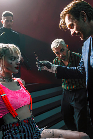 Harley Quinn, Victor Zsasz, and Roman Sionis in Birds of Prey (2020)