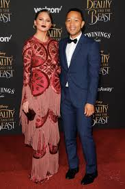 John Legend And Chrissy Theigen 2017 Beauty And The Beast Movie Premiere