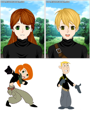 Kim possible and Ron stoppable as anime teens