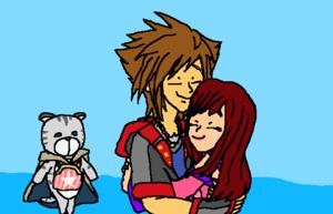 Kingdom Hearts Fanart Sora x Kairi Reunion.