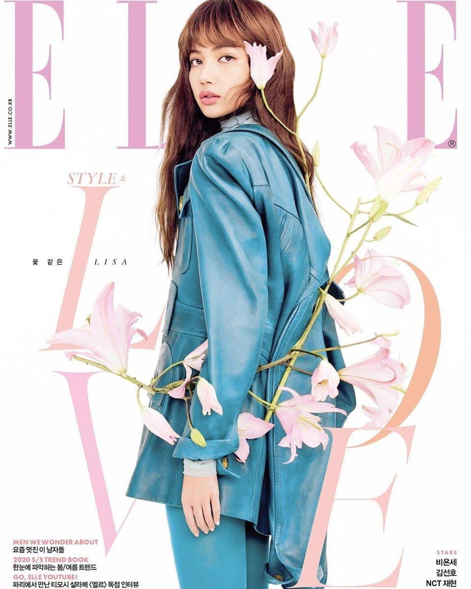 Lisa is a flower among flowers for 'Elle Korea'