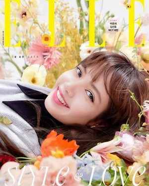 Lisa is a flower among flowers for 'Elle Korea'