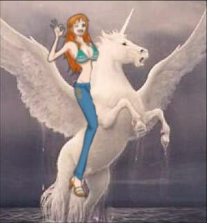 Nami riding on her Beautiful White Winged Unicorn