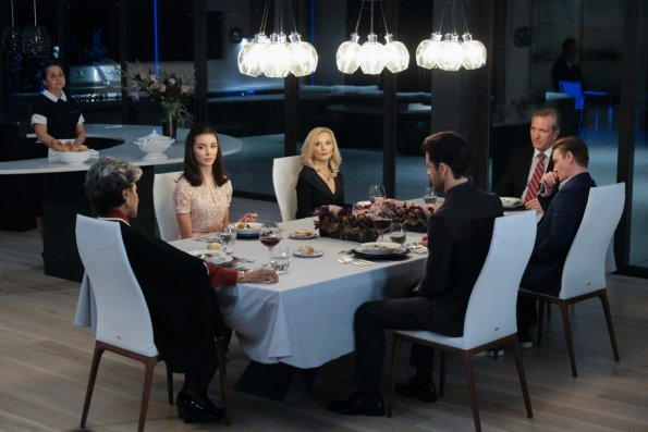 A table full of rich people are looking shocked because our protagonist Nancy Drew has just interrupted their dinner to accuse someone of covering up a murder plot