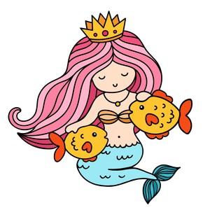 Sirena con pesci