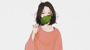 Sad Korean Leaf Girl