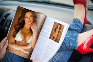 She पढ़ना a प्लेबाय Magazine