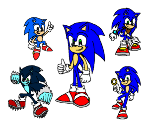 Sonic the Hedgehog Classic, Modern, Werehog, Boom and Live Action.