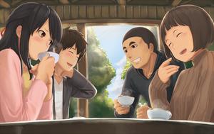 Taki, Mitsuha, Tessie and Sayaka