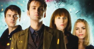 The Tenth Doctor with Rose Tyler, Donna Noble & Capt. Jack Harkness