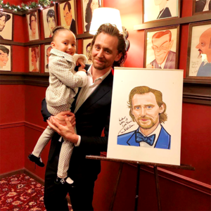 Tom Hiddleston and onstage daughters at Sardi's in NYC on December 5, 2019