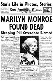 Artucle Pertaining To The Passing Of Marilyn Monroe