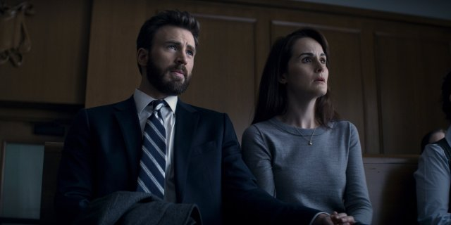 Chris Evans and Michelle Dockery in Defending Jacob (2020)