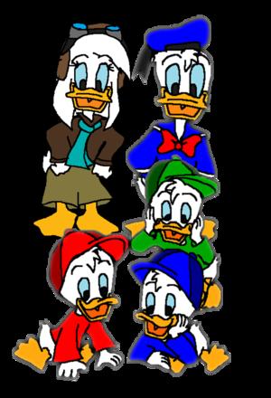 Donald, Della, Huey, Dewey, and Louie Duck