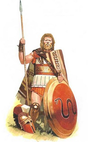 Hoplite warrior with Lino-thorax armour and a Thracian blanket