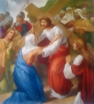 Jesus Met His Mother while Carrying the menyeberang, cross