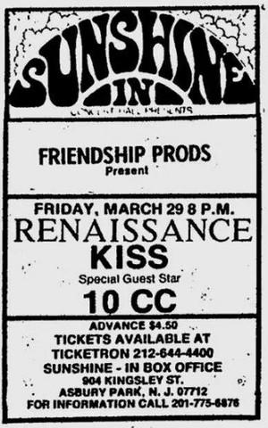 KISS ~Asbury Park, New Jersey...March 29, 1974 (KISS Tour)
