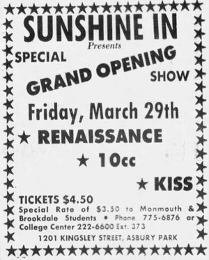 キッス ~Asbury Park, New Jersey...March 29, 1974 (KISS Tour)