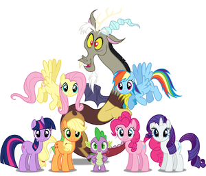 Mane Six Spike and Discord