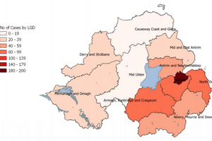 Map of Coronavirus (Covid-19) Infection in County Tyrone, Ulster/NI, UK