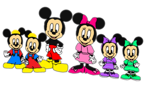 Mickey, Minnie, Morty, Ferdie, Millie and Melody.