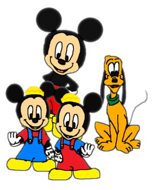 Mickey Mouse, Pluto and Morty and Ferdie.