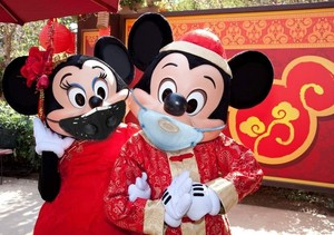 Mickey and Minnie wearing their protection