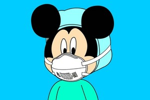 Mickey wearing protection