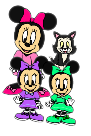 Minnie Mouse, Figaro, and Millie and Melody.