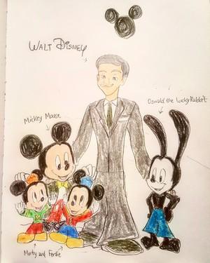 Walt Disney, Mickey, Morty, Ferdie and Oswald.