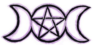 Wiccan Triple Moon Goddess Symbol with Pentagram