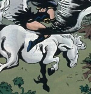 Xena rides on an Beautiful Majestic White Pegasus