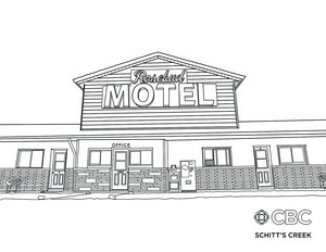 'Schitt's Creek' Rosebud Motel Colouring Page