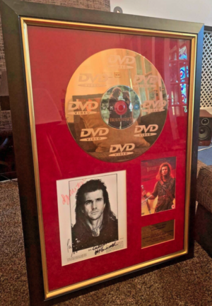 BRAVEHEART 1 of a kind movie 24 Carat सोना Disc signed द्वारा Mel Gibson