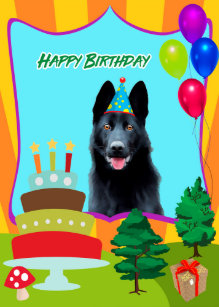 Black German Shepherd Birthday Card