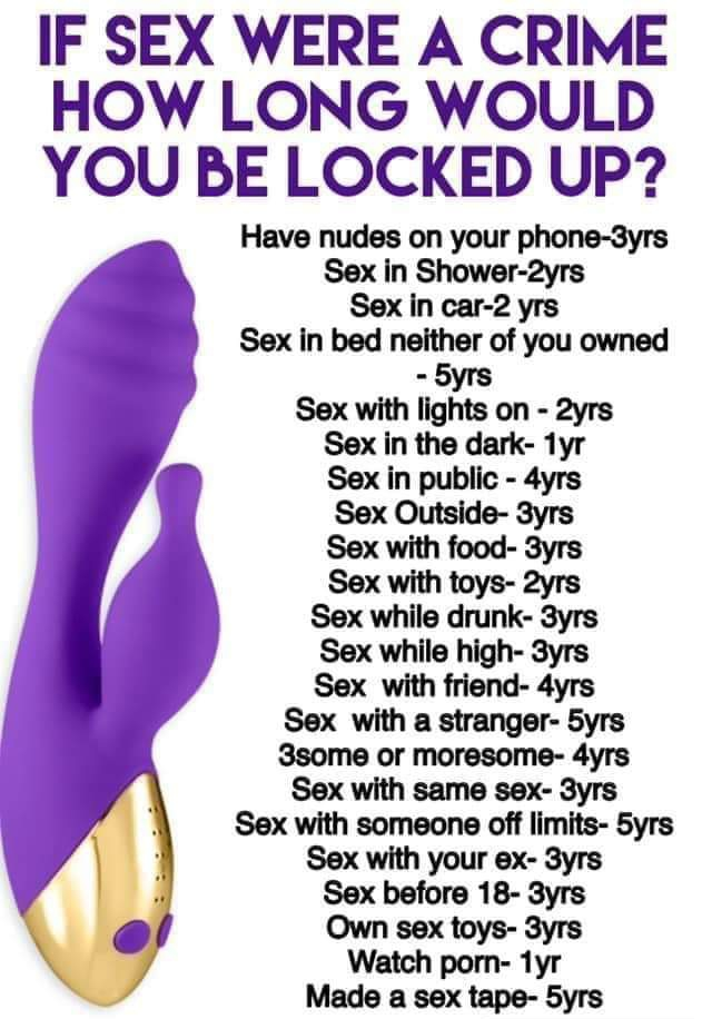 If sex were a crime how long would u be locked up for?