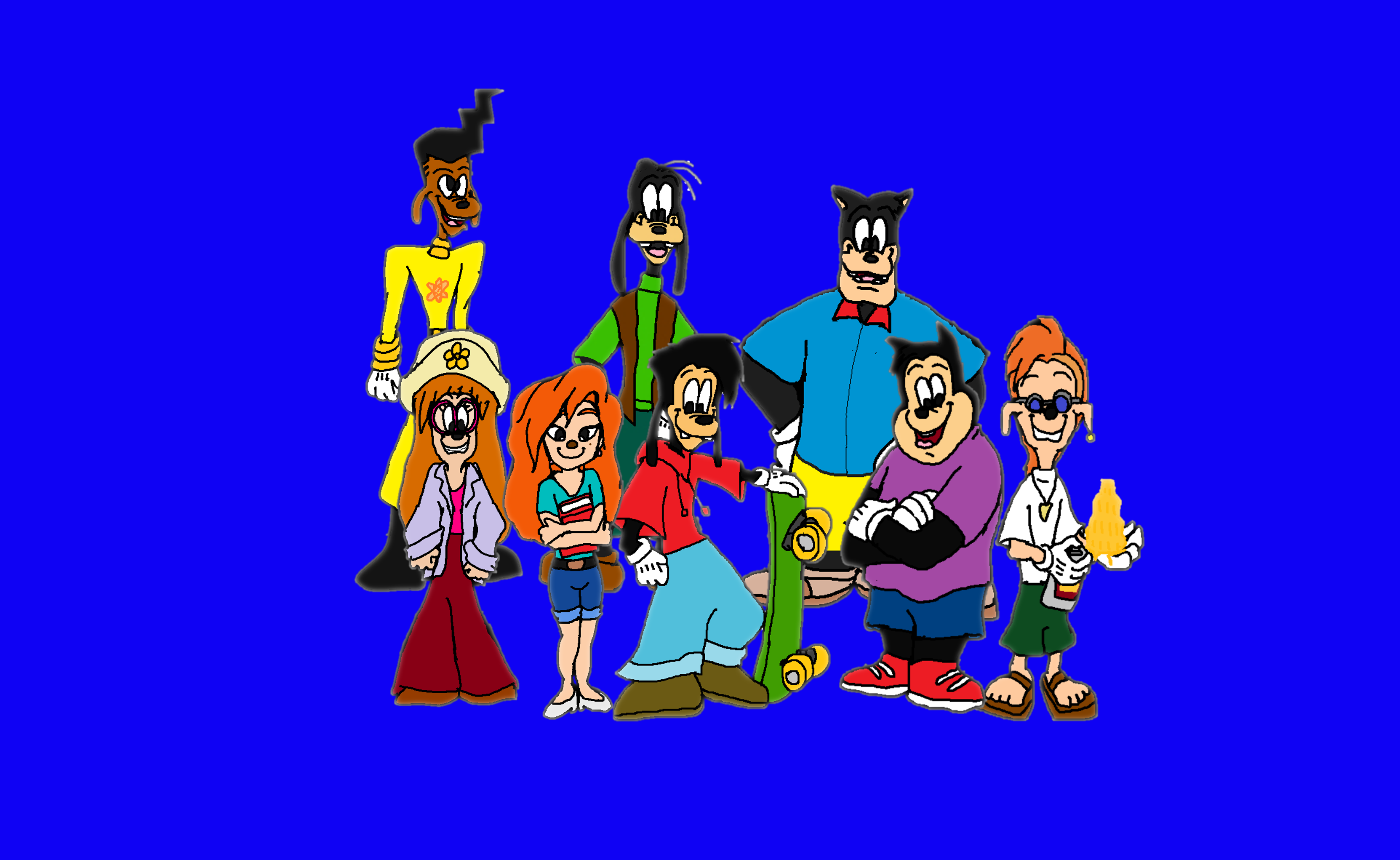 (A Goofy Movie) Goofy, Max, Pete, PJ, Bobby, Roxanne, (Stacy)Stacey and Powerline
