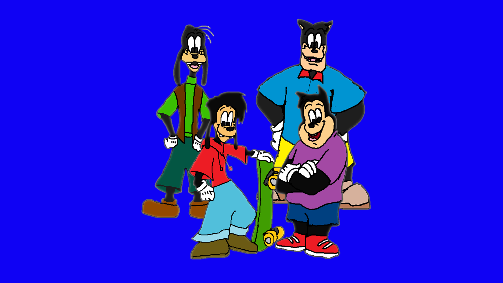 (A Goofy Movie) Goofy and Max and Pete and PJ. (Father and Son)