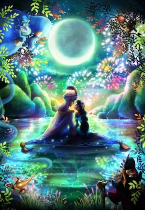 Walt 디즈니 이미지 - Prince Aladdin, Princess Jasmine, Carpet, Genie, Abu, Jafar & Iago